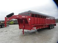 2019 Coose 6'8x28'x6'6 rubber floor stock trailer