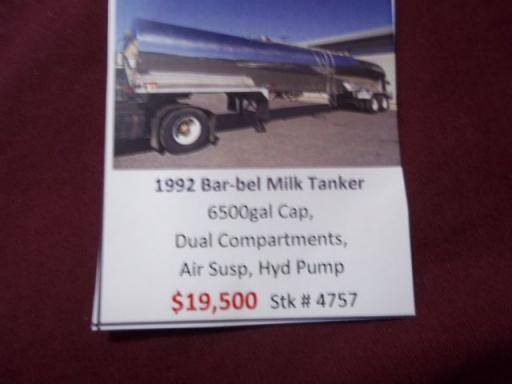 1992 Barbell 6,500 gallon/dual compartments/ar